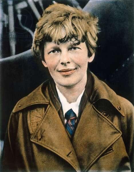 AMELIA EARHART (1897-1937) American aviator. Oil over a photograph, c.1920.