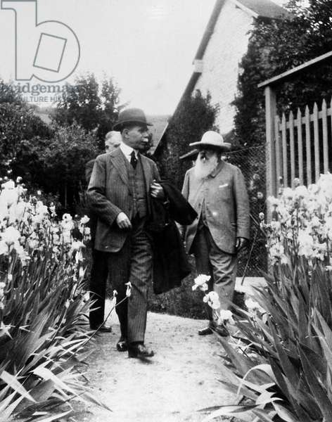 RYERSON & MONET, 1920 American art collector Martin A. Ryerson, photographed with French painter Claude Monet at Giverney, France, 1920.