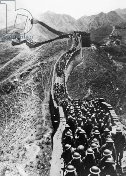 SINO-JAPANESE WAR, 1937 Chinese troops marching on The Great Wall near Peiping during the Second Sino-Japanese War. Photographed 28 October 1937.
