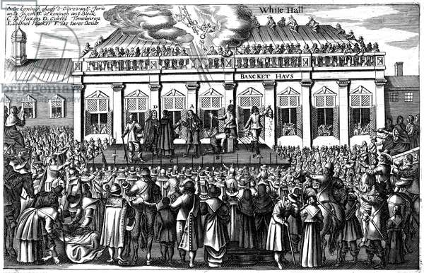 EXECUTION OF CHARLES I The execution of King Charles I of England at Whitehall, London, 30 January 1649. Contemporary Dutch copper engraving.