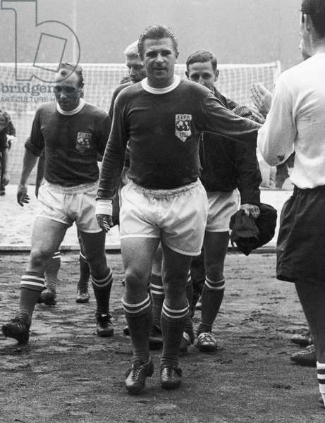 FERENC PUSKAS (1927-2006) Hungarian soccer player, with the FIFA all-star team, c.1953.