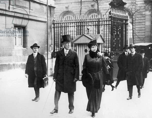 WOODROW WILSON (1856-1924) 28th President of the United States. President Wilson strolling with his wife, Edith Bolling Galt Wilson, in Paris, France, during the Paris Peace Conference, January 1919.