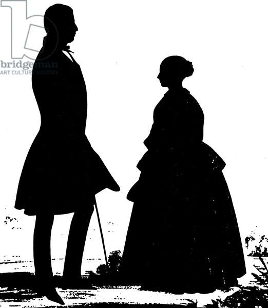 QUEEN VICTORIA SILHOUETTE Silhouette of Queen Victoria with Lord Melbourne, c.1840, by George Atkinson.