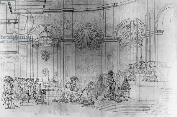 CORONATION OF NAPOLEON I. Coronation of Napoleon I and Josephine at Notre Dame de Paris, 2 December 1804. Sketch, c.1805, by Jacques Louis David.