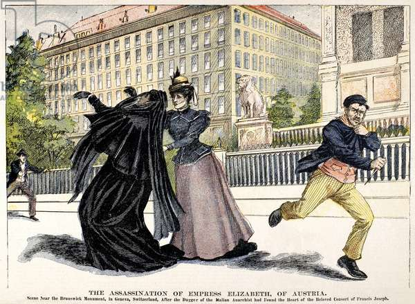 ELIZABETH OF AUSTRIA (1837-1898). Empress of Austria, 1854-1898. The assassination of Empress Elizabeth, 10 September 1898, by Luigi Lucheni, a young anarchist, in Geneva, Switzerland. Color engraving from a contemporary American newspaper.