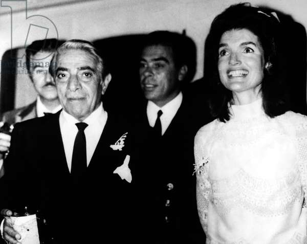 JACQUELINE KENNEDY ONASSIS (1929-1994). Wife of U.S. President John Fitzgerald Kennedy and Greek shipping magnate Aristotle Onassis. Photographed with Aristotle Onassis following their wedding on Skorpios, Onassis' private island in the Ionian Sea off the west coast of Greece, 20 October 1968.