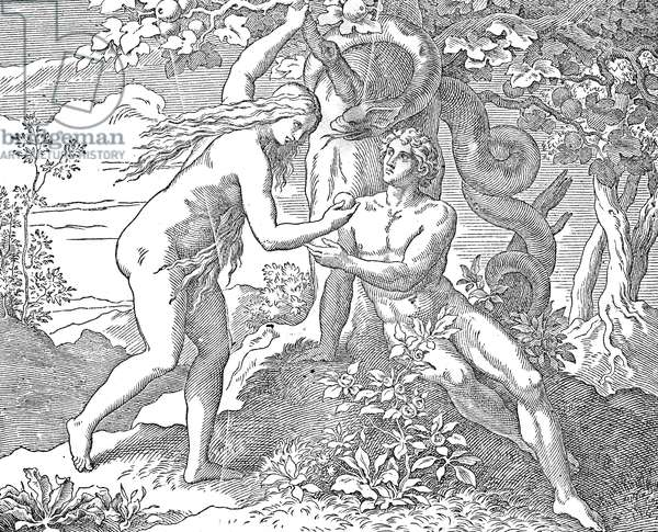 ADAM & EVE Eve offering the apple to Adam. Wood engraving from a 19th century German language Bible published in America.