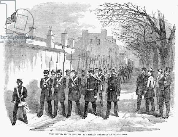 CIVIL WAR: MARINES, 1861 United States Marine Corps and Marine Barracks in Washington, D.C., during the Civil War. Wood engraving, American, 1861.