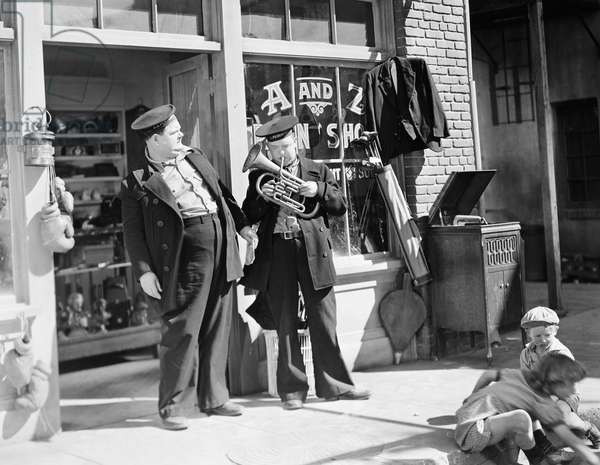 LAUREL AND HARDY Stan Laurel (right) and Oliver Hardy in a scene from 'Our Relations,' 1936 (Hal Roach - MGM).