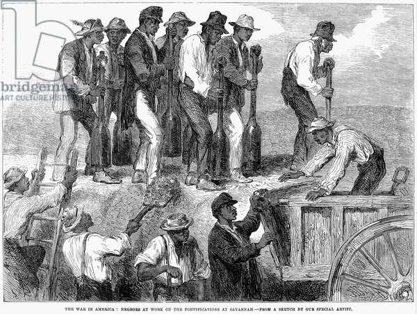 CIVIL WAR: SLAVE LABOR Plantation slaves working on the fortifications of Savannah, Georgia during the American Civil War. Wood engraving, English, 1863.