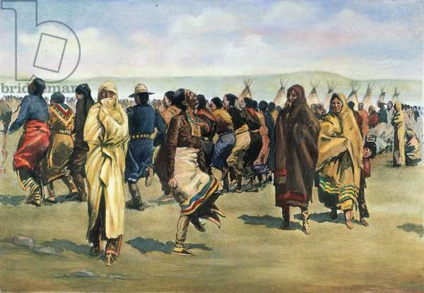 OGALALA SIOUX GHOST DANCE at the Pine Ridge Native American Reservation, South Dakota. Illustration by Frederic Remington, 1890.
