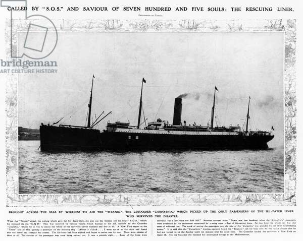 """TITANIC: THE CARPATHIA, 1912 The rescuing liner 'Carpathia, which came to the aid of survivors of the """"Titanic,"""" 1912."""