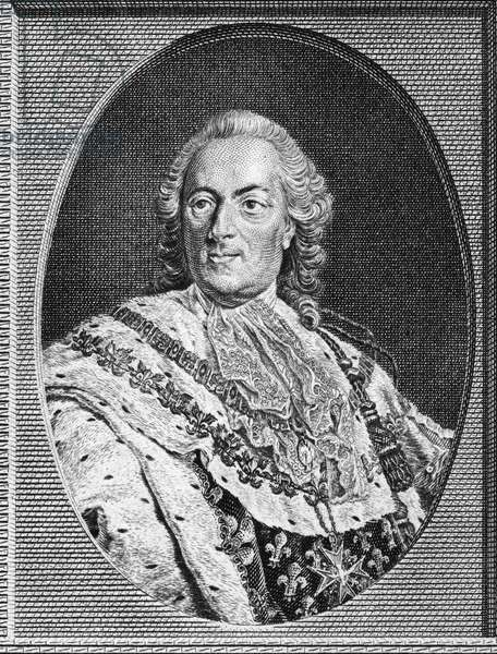 LOUIS XV (1710-1774) King of France, 1715-1774. Copper engraving, 1785, after a painting by Louis Michel Van Loo.