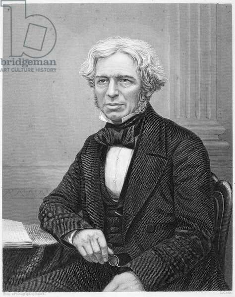 MICHAEL FARADAY (1791-1867). English chemist and physicist. Stipple engraving, English, 19th century.
