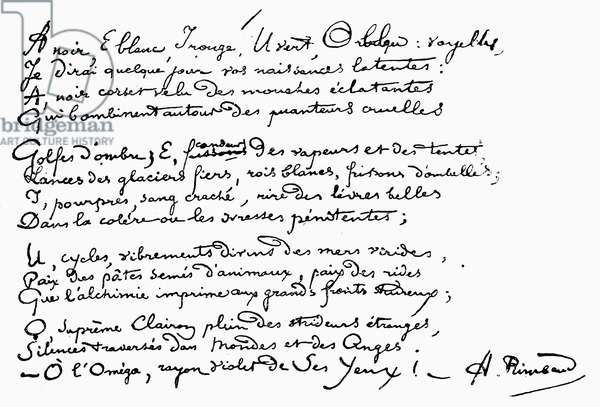 ARTHUR RIMBAUD (1854-1891) French poet. Manuscript page of a poem by Rimbaud.