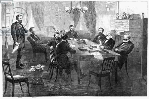 GRANT'S CABINET, 1869 The cabinet of President Ulysses Grant (seated at far end of table) in session, 1869. Contemporary American wood engraving.