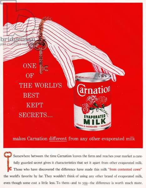 AD: CARNATION, 1959 American advertisement for Carnation evaporated milk. Illustration, 1959.