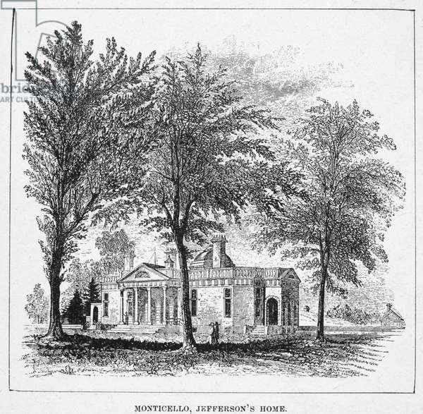 JEFFERSON: MONTICELLO Monticello, the home of President Thomas Jefferson near Charlottesville, Virginia. Line engraving, 19th century.