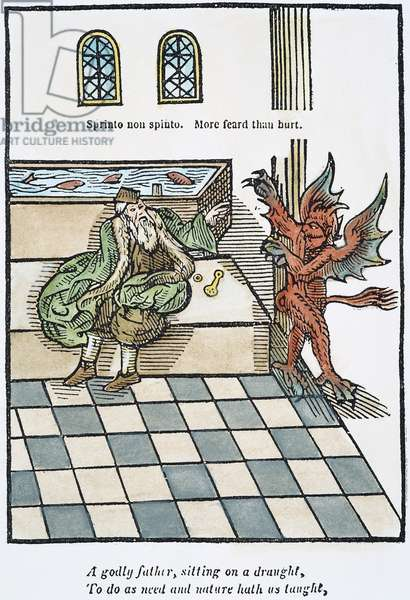 FIRST WATER-CLOSET, 1596 The first water-closet, invented by Sir John Harington (1561-1612). coloured  woodcut from Harington's 'Metamorphosis of Ajax,' 1596, the publication which, along with other satires, led to his banishment from the court of his godmother, Queen Elizabeth I.