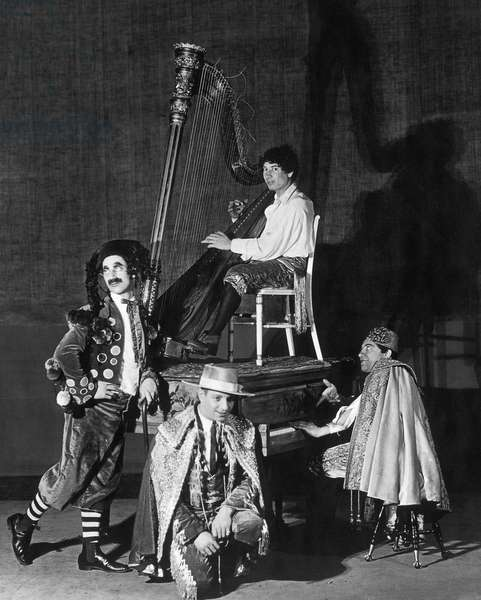 THEATER: MARX BROTHERS From left: Groucho, Zeppo, Chico, and, with his harp, Harpo Marx, on stage at the Lyric Theater in New York in George S. Kaufman's musical comedy 'Cocoanuts,' 1925.