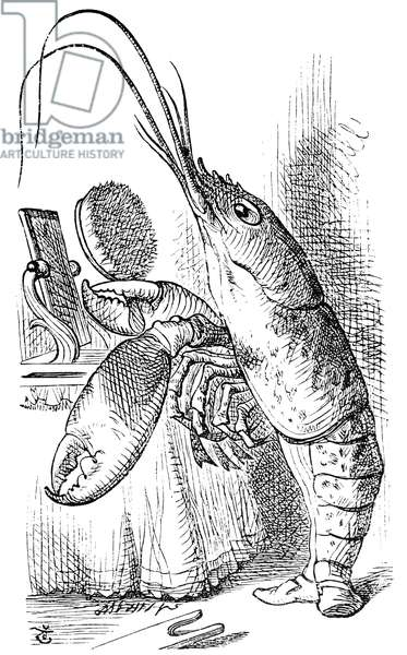 CARROLL: ALICE, 1865 The Lobster declares, 'You have baked me too brown, I must sugar my hair.' Illustration by Sir John Tenniel for the first edition of Lewis Carroll's 'Alice's Adventures in Wonderland,' 1865.
