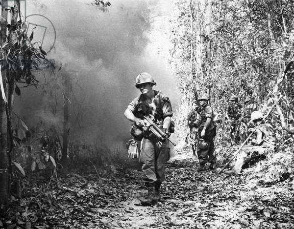 VIETNAM WAR: 1st CAVALRY Soldiers of the U.S. First Cavalry Division fighting in Vietnam ten miles from the Cambodian border, March 1970.