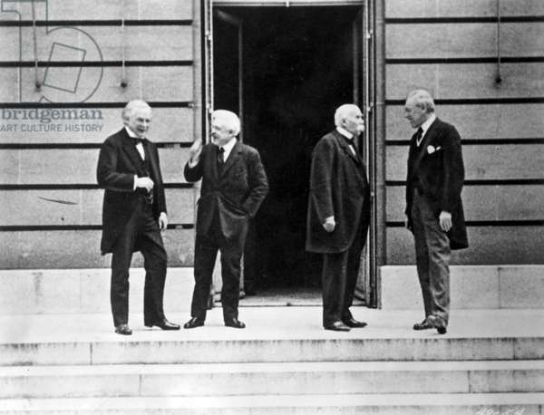 WILSON AT VERSAILLES, 1919 'The Big Four,' at the Versailles Palace in France during the Treaty negotiations, June 1919. From left: British Prime Minister David Loyd George, Italian Prime Minister Vittorio Emanuele Orlando, French Premier Georges Clemenceau and American President Woodrow Wilson.