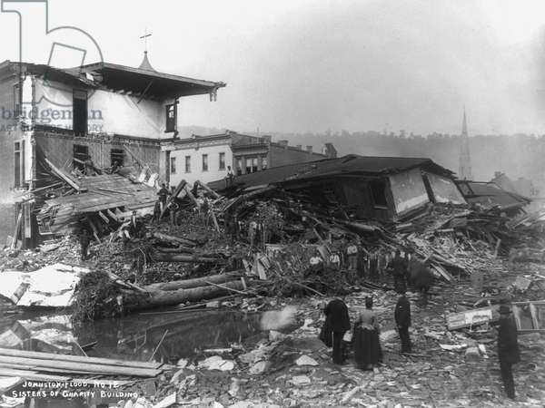 JOHNSTOWN FLOOD, 1889 Destruction of the Sisters of Charity Building #12 after the flood at Johnstown, Pennsylvania, May 1889.