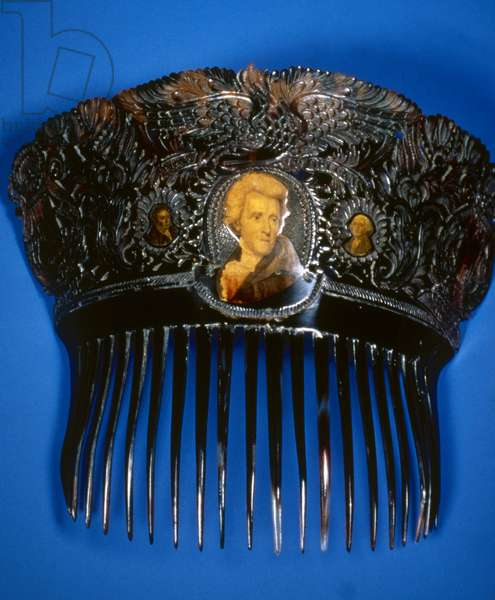 ANDREW JACKSON: COMB. Commemorative comb with the image of President Andrew Jackson flanked by smaller images of George Washington and the Marquis de Lafayette, 1831.