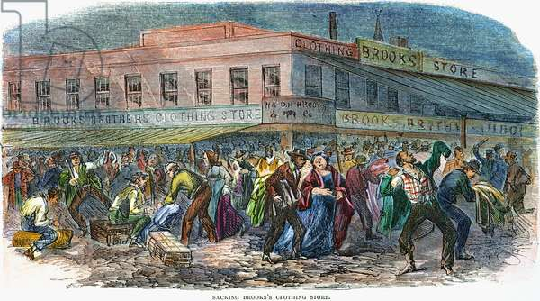 NEW YORK: DRAFT RIOTS 1863 The mob sacking Brooks Brothers clothing store during the New York City Draft Riots of 13-16 July 1863. Contemporary American wood engraving.