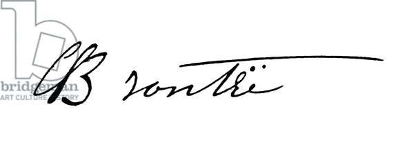 CHARLOTTE BRONTË (1816-1855). English novelist. Autograph signature.
