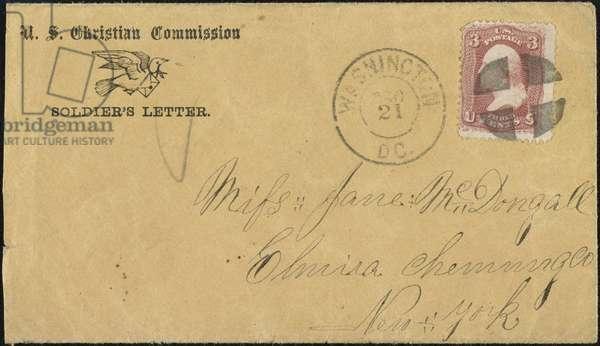 CIVIL WAR LETTER, c.1863 American Civil War soldier's letter sponsored by the U.S. Christian Commission, c.1863.