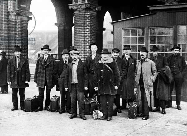 ELLIS ISLAND, 1919 Members of the Industrial Workers of the World, awaiting deportation to their native countries after being detained at Ellis Island for 18 months. Photograph, 14 March 1919.