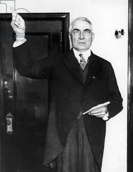 WARREN HARDING (1865-1923) President of the United States, 1921-23. Photographed as a U.S. Senator at the 1916 Republican National Convention, where he was credited with coining the phrase 'Founding Fathers.'