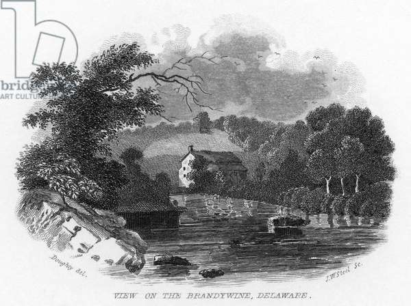 DELAWARE: BRANDYWINE 'View on the Brandywine, Delaware.' Engraving by Doughty, 19th century.