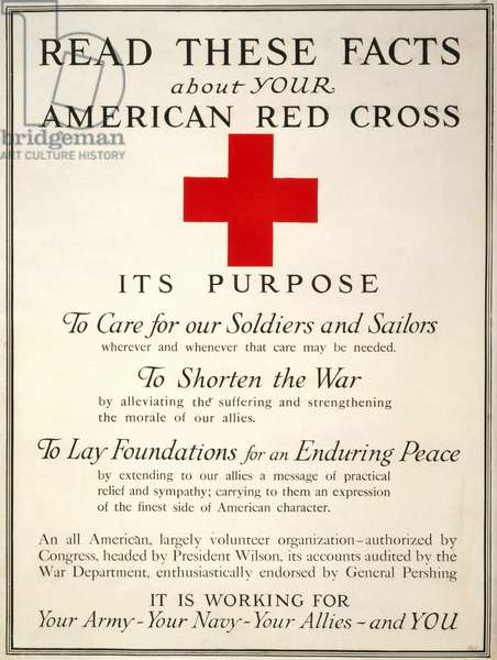 RED CROSS POSTER, 1917 American Red Cross poster, 1917, during World War I.