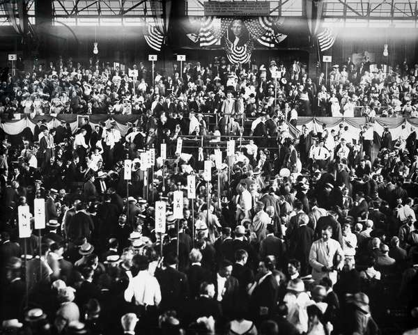 PRESIDENTIAL CAMPAIGN, 1912 The Democratic National Convention at Baltimore, Maryland, 1912. Woodrow Wilson and Thomas R. Marshall accepted the party's nomination for President and Vice President.