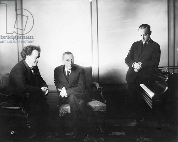 MUSICIANS, c.1922 Left to right: Dutch composer Willem Mengelberg, Russian composer and pianist Sergei Rachmaninoff, and Russian pianist Mischa Levitzki. Photograph, c.1922.
