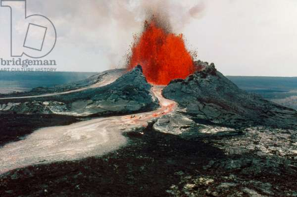 HAWAII: VOLCANOS, 1984 The east rift spatter cone of Kilauea, during a dual eruption of the Mauna Loa and Kilauea volcanos on the island of Hawaii, 30 March 1984. Photograph by Kepa Maly.