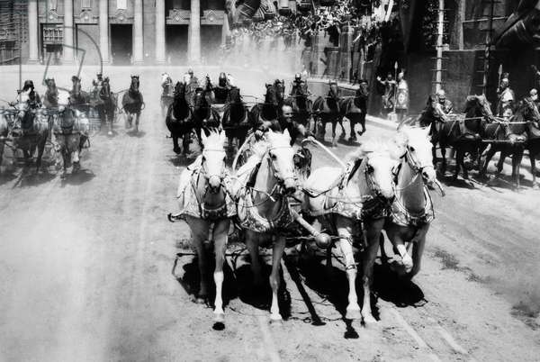 BEN HUR, 1959 Charlton Heston in the title role during the climactic chariot race.