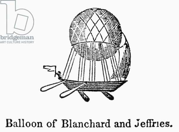 BLANCHARD'S BALLOON Hot air balloon designed by Jean Pierre François Blanchard, in which he crossed the English Channel with John Jeffries in 1785. Wood engraving, American, c.1835.