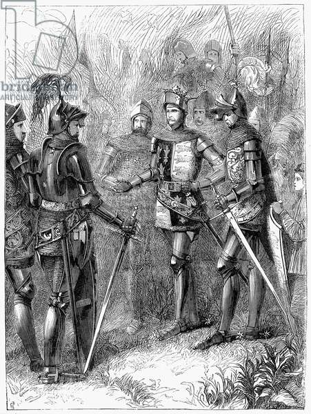 HENRY V AT AGINCOURT, 1415 King Henry V of England on the field of Agincourt, Ocotber 1415, just before battle. Wood engraving, English, 19th century.