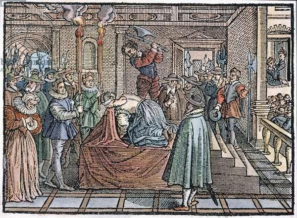 MARY, QUEEN OF SCOTS (1542-1587). The execution at Fotheringay Castle, England, on February 8, 1587. Woodcut from Adam Blackwood's 'La Mort de La Royne D'Ecosse,' Paris, 1589.