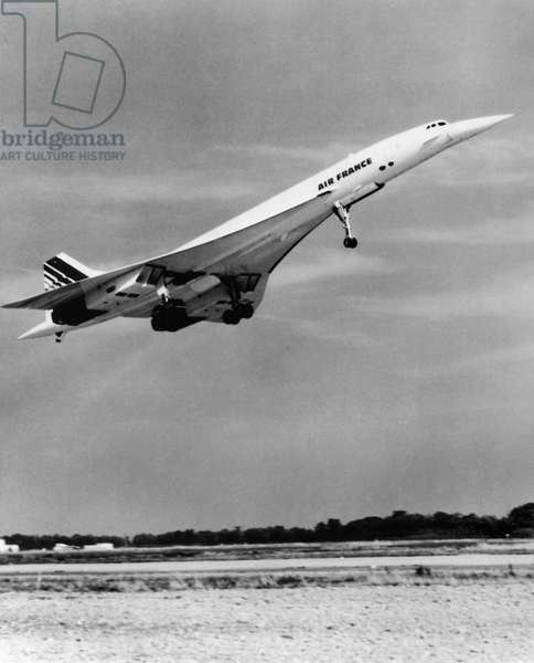 AIR FRANCE: CONCORDE The Air France Concorde high-speed passenger plane during takeoff. Photograph, late 20th century.