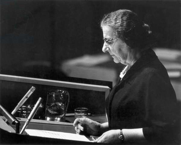 GOLDA MEIR (1898-1978) Israeli stateswoman. Addressing the General Assembly of the United Nations in New York when Foreign Minister of Israel, 2 October 1963.