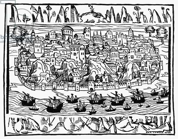 LISBON, 1548 A view of Lisbon, Portugal. Woodcut, Spanish, 1548.