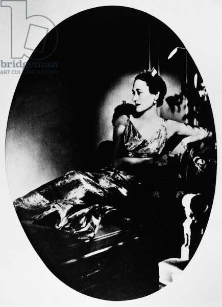 DUCHESS OF WINDSOR (1896-1986). Née Bessie Wallis Warfield. Photographed in 1935 as Mrs. Ernest Simpson, wearing a Mainbocher dress.
