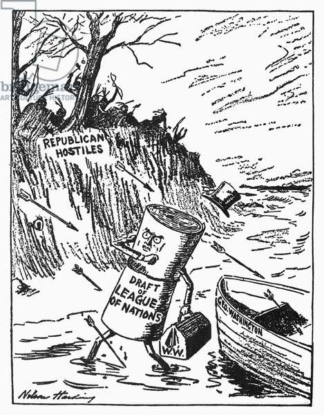 WILSON: LEAGUE OF NATIONS 'Pilgrim Landing in America, 1919.' American cartoon by Nelson Harding, 1919, depicting President Woodrow Wilson's cherished League of Nations met by Republican hostilities upon reaching American shores.
