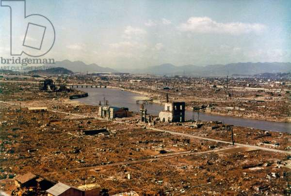 WWII: HIROSHIMA, 1946 Aerial view of Hiroshima, Japan, showing the complete devastation caused by the atomic bomb. Photograph, March 1946.