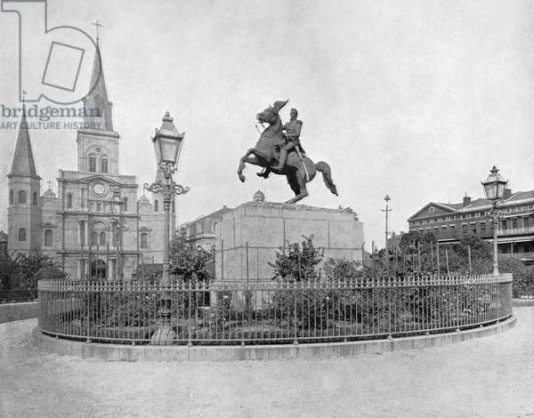 NEW ORLEANS: MONUMENT The St. Louis Cathedral and statue of Andrew Jackson at Jackson Square in New Orleans, Louisiana. Photograph, c.1890.
